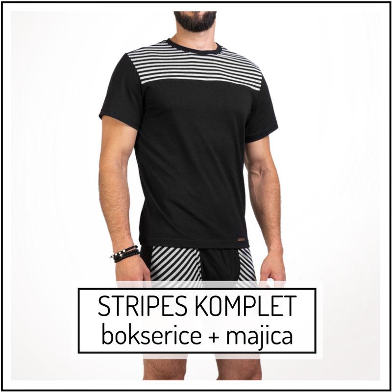 Manor underwear Stripes komplet muška majica i muške bokserice