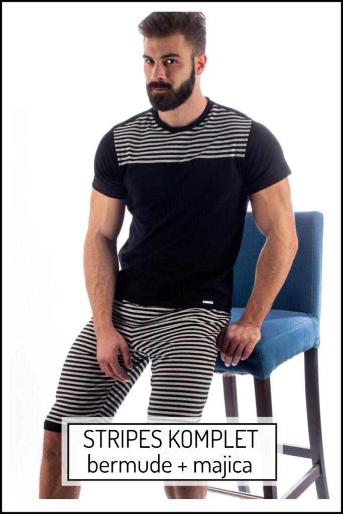 Manor underwear Stripes komplet muška majica i muške bermude