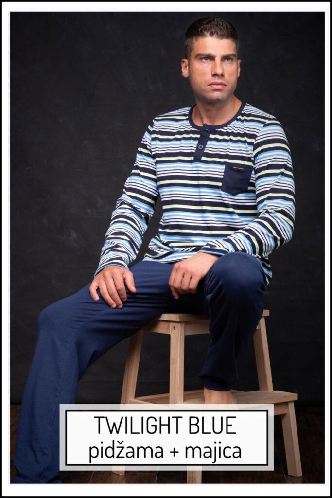 Manor underwear Twilight blue komplet muška pidžama i majica dug rukav