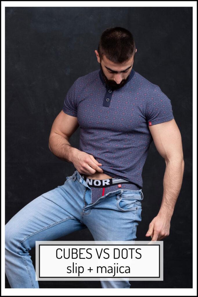 Manor underwear Cubes VS Dots komplet muška Casual majica kratak rukav i slip donji veš