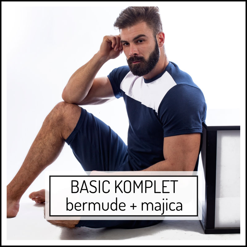 Manor underwear Basic komplet muške bermude i muška majica