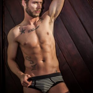 Manor underwear Stripes crni slip 01