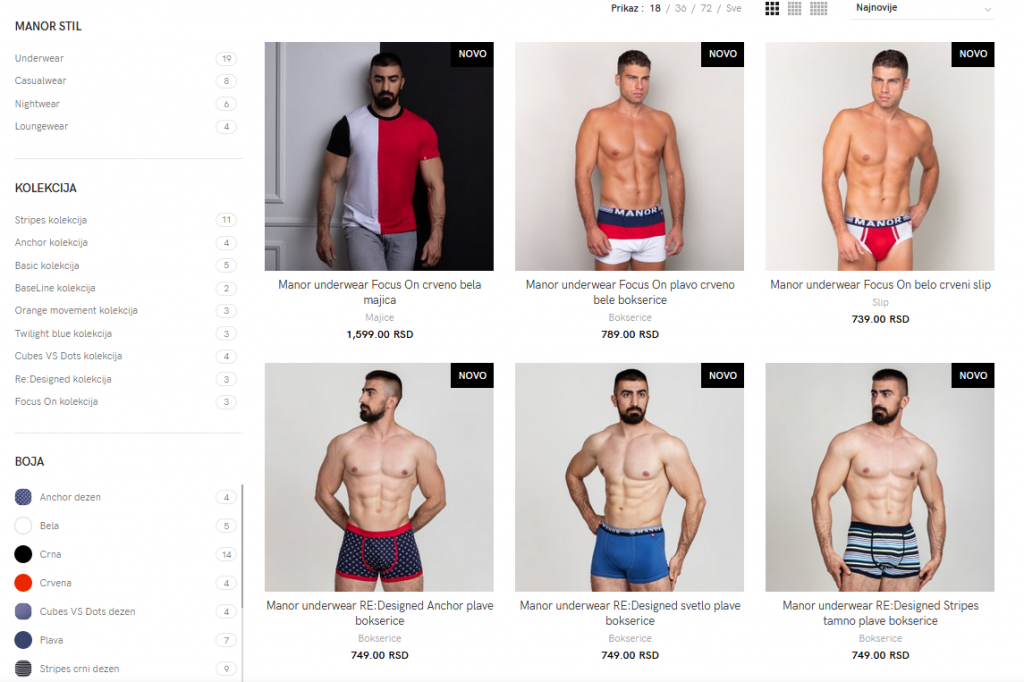 Manor underwear web shop screenshot 1