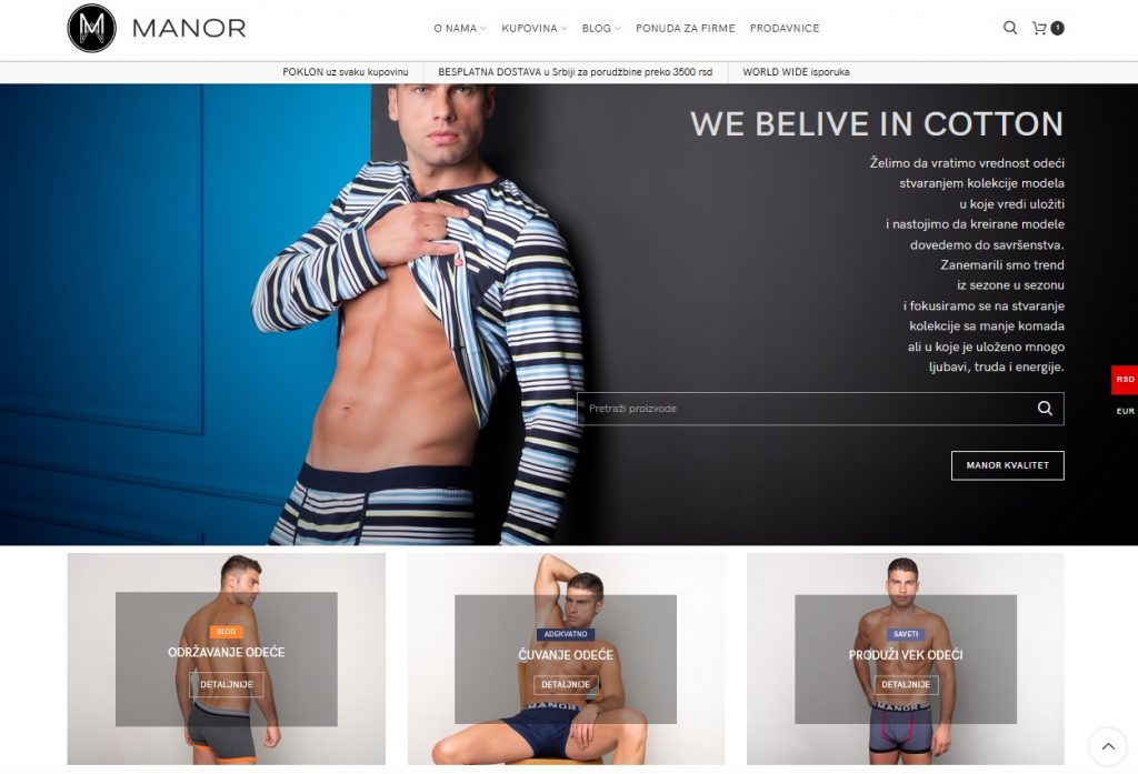 Manor underwear web shop screenshot 3