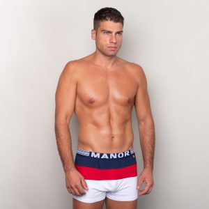 Manor underwear Focus On plavo crveno bele bokserice 01