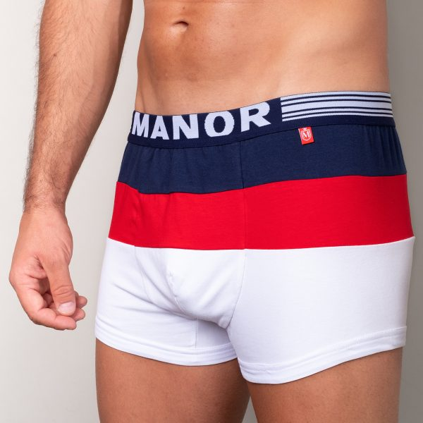 Manor underwear Focus On plavo crveno bele bokserice 02