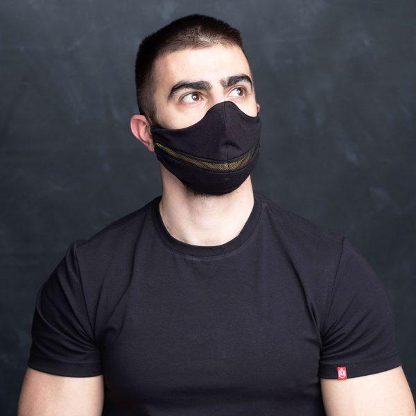 Black optimist crno žuta pamučna maska