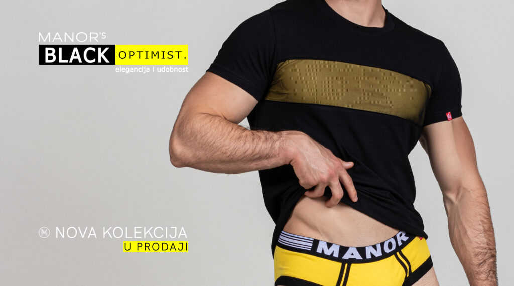 Manor underwear Black optimist kolekcija muški slip i majica