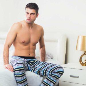 Manor underwear Stripes zeleno plavo bela muška pidžama 5