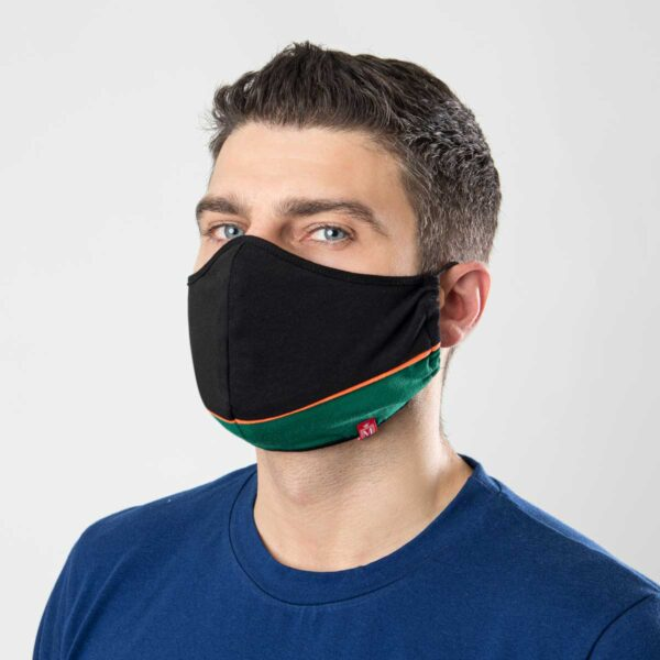 Manor underwear Work From Home crno zelena pamučna maska 1