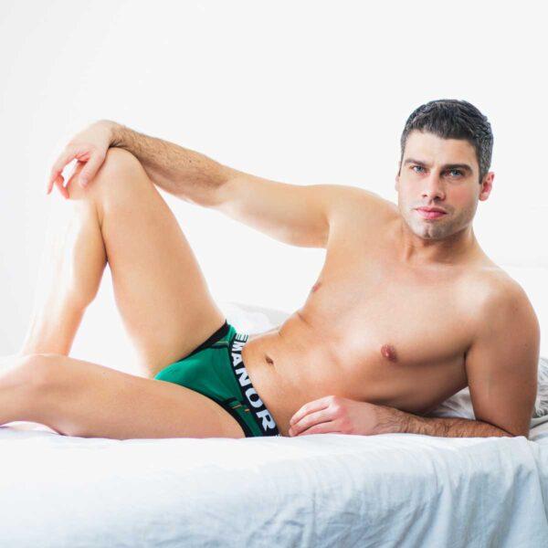 Manor underwear Work From Home crno zeleni muški slip 5