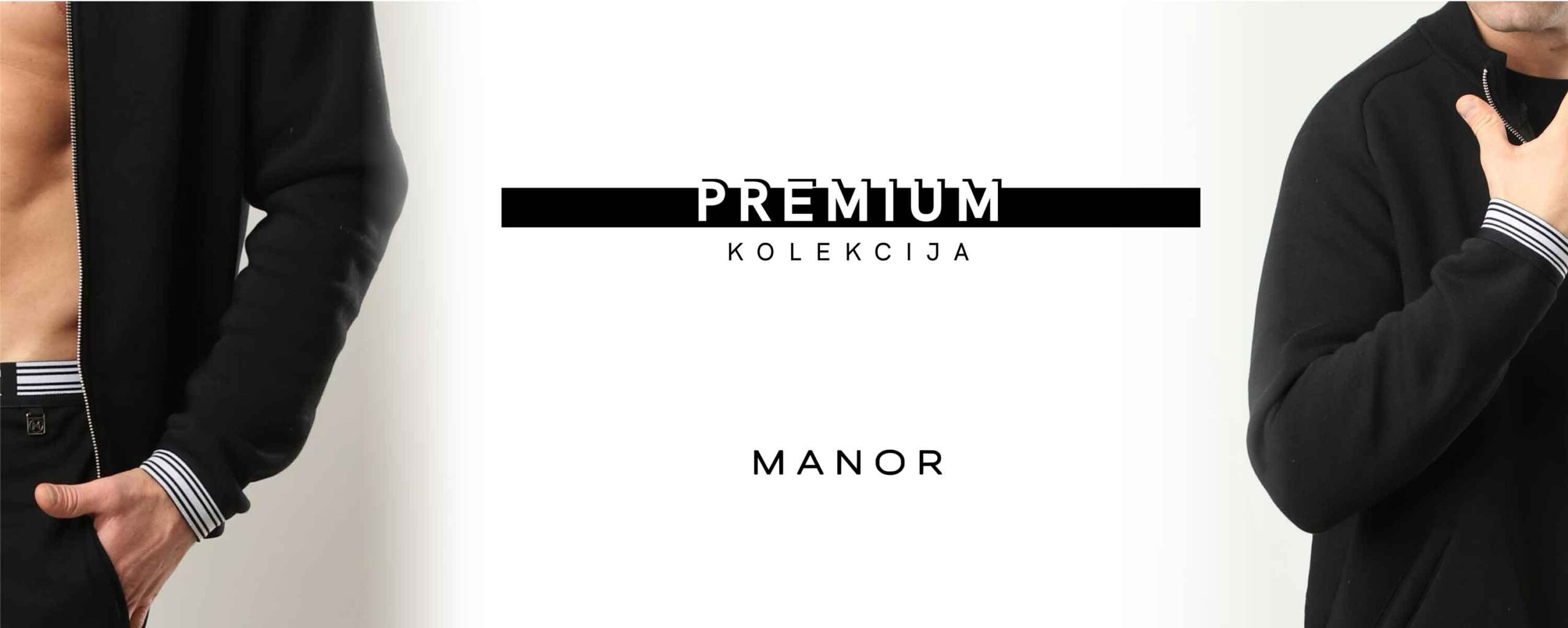 Manor Premium crna muška dukserica na zakopčavanje