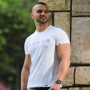 Bela muška majica sa printom 1