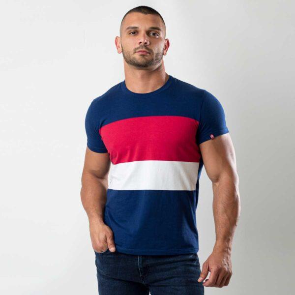 Plava muška majica sa prugama 1